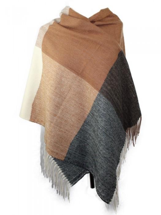 Languotas šalikas su vilna, rudas